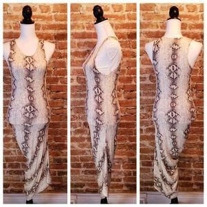 SIGAL A Dresses - Signal A Asymmetric Snakeskin Maxi Dress
